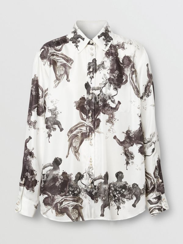 Angel Print Silk Twill Shirt in Black - Women | Burberry - cell image 3