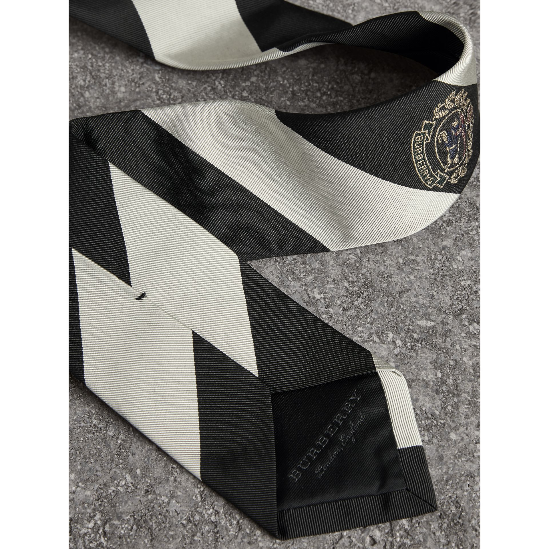 Modern Cut Archive Logo Striped Silk Tie in Black - Men | Burberry United Kingdom - gallery image 1