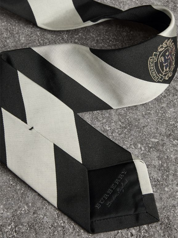 Modern Cut Archive Logo Striped Silk Tie in Black - Men | Burberry Hong Kong - cell image 1