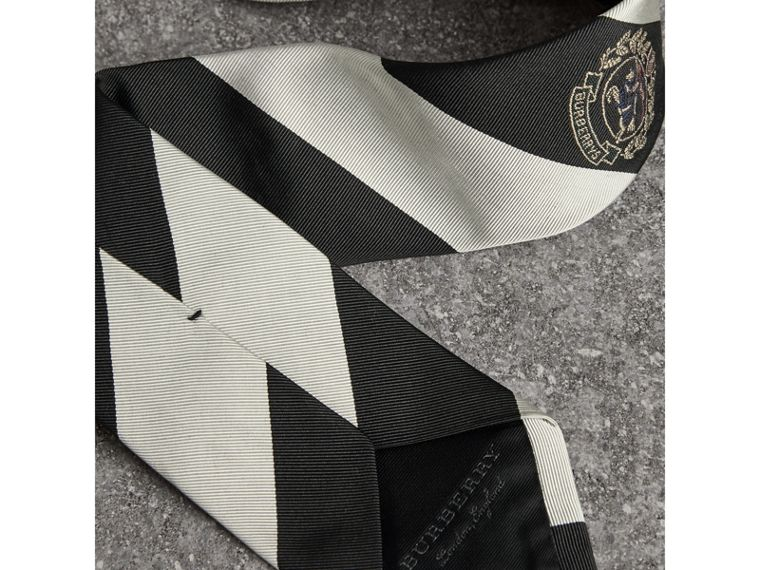 Modern Cut Archive Logo Striped Silk Tie in Black - Men | Burberry United Kingdom - cell image 1