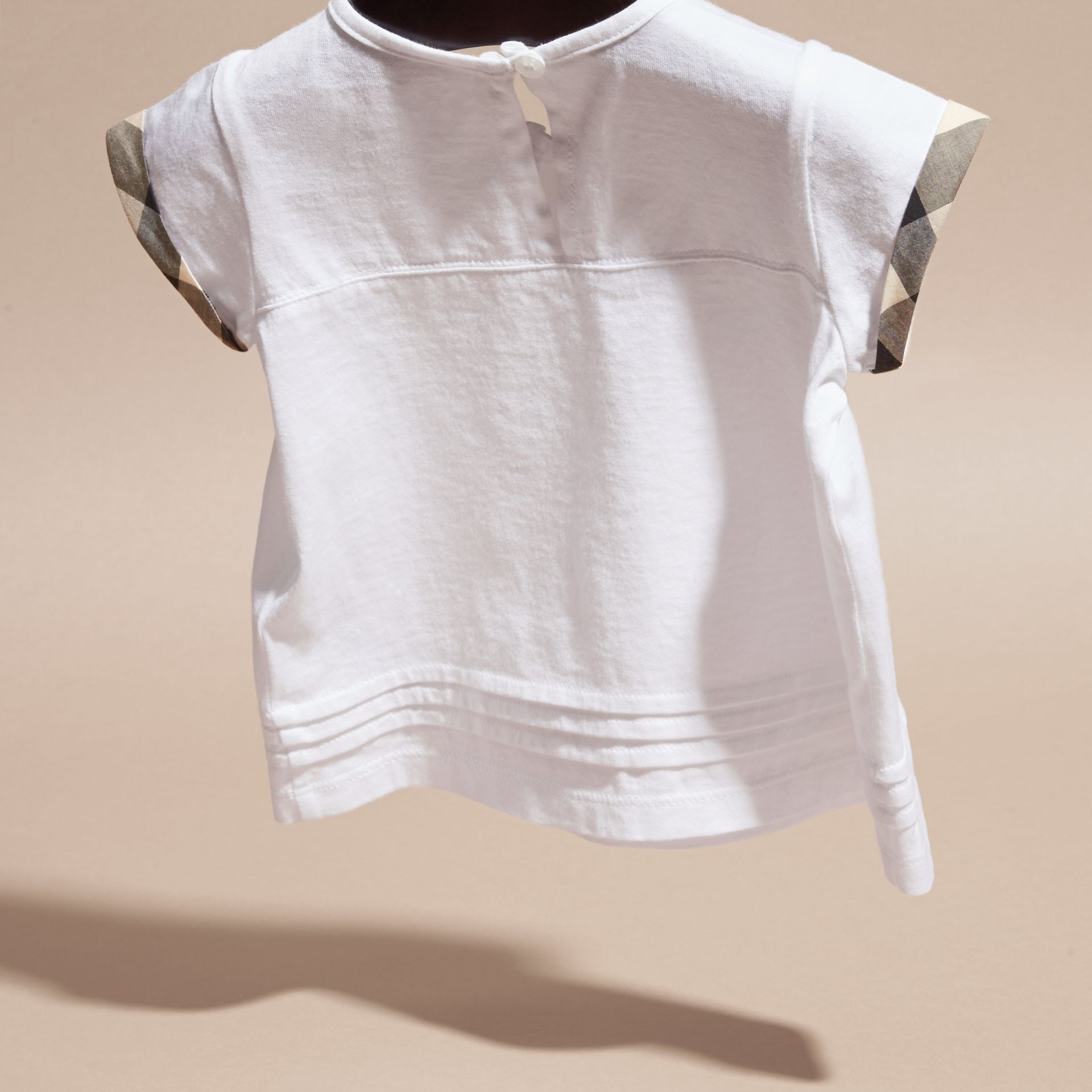 White Check Trim Cotton T-shirt - gallery image 4