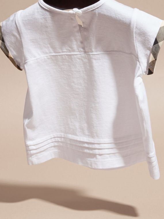 White Check Trim Cotton T-shirt - cell image 3