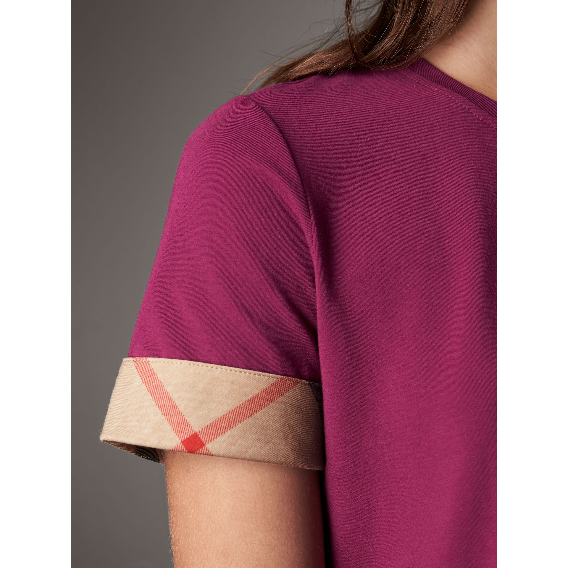 Check Cuff Stretch Cotton T-Shirt in Magenta Pink - Women | Burberry Canada - gallery image 5