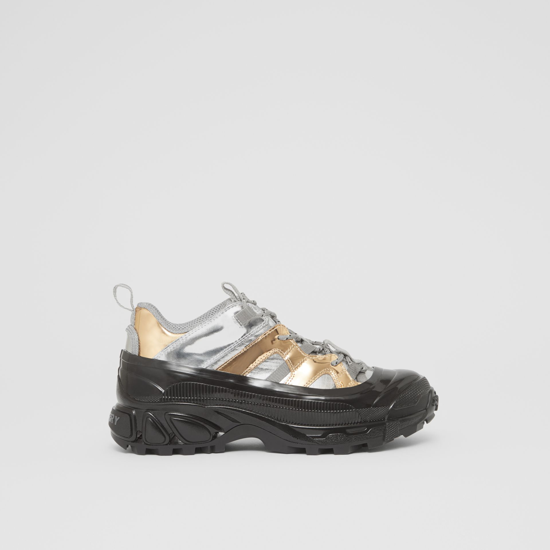 Two-tone Metallic Leather Arthur Sneakers in Silver/gold - Women   Burberry - gallery image 5