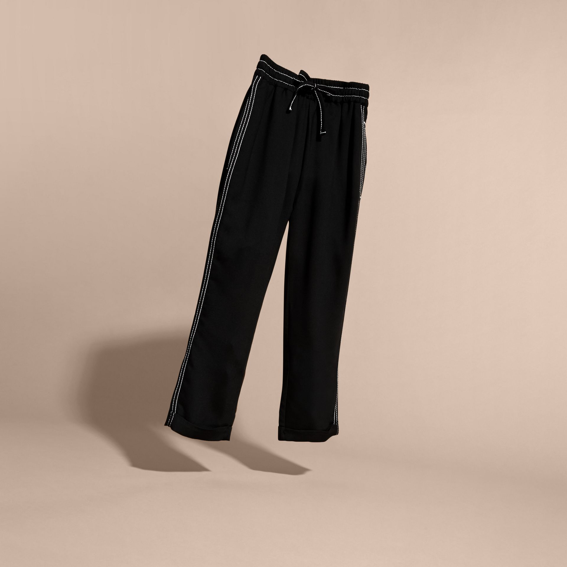 Black Topstitched Track Pants - gallery image 3