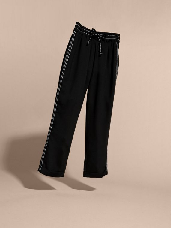Black Topstitched Track Pants - cell image 2