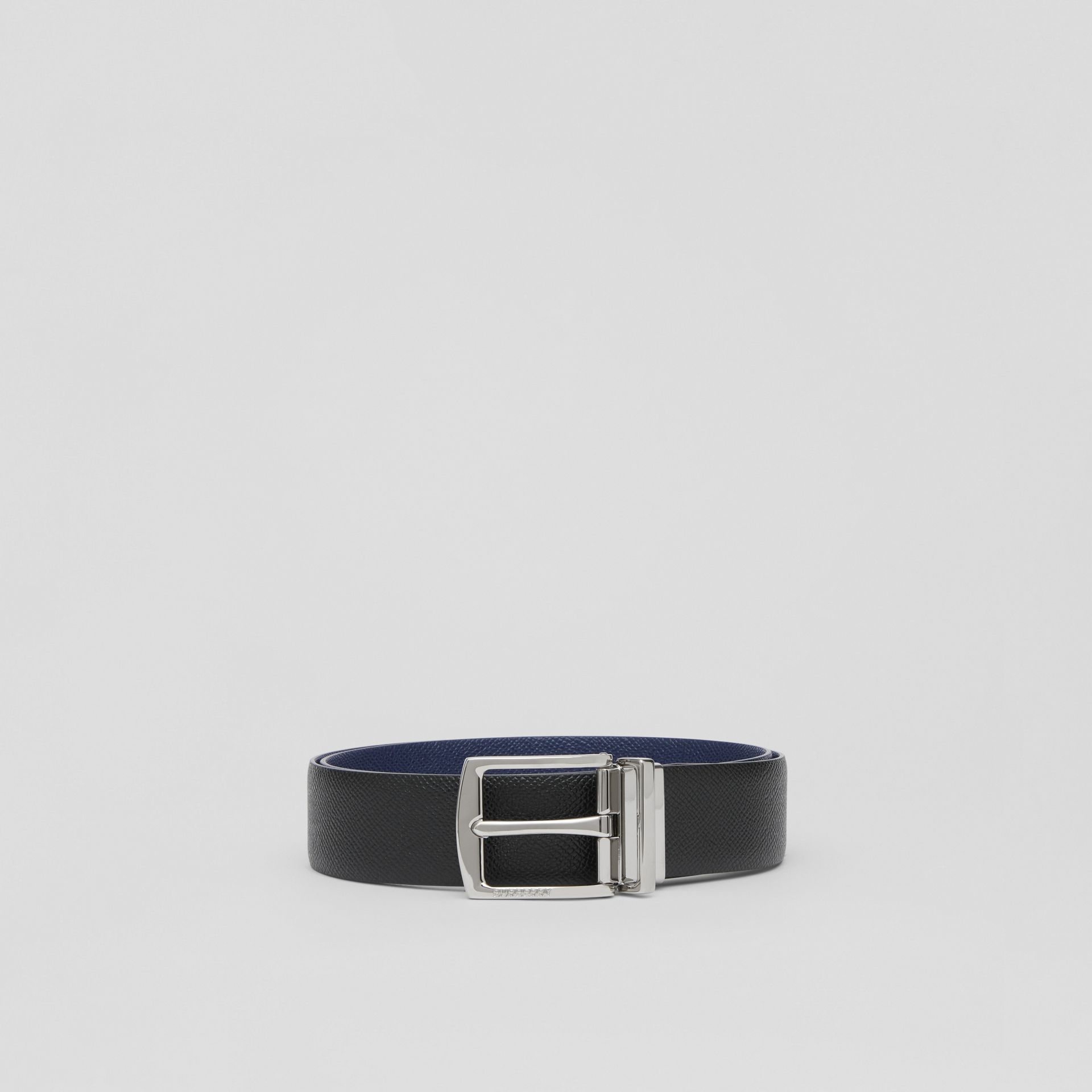 Reversible Grainy Leather Belt in Black/navy - Men | Burberry - gallery image 3
