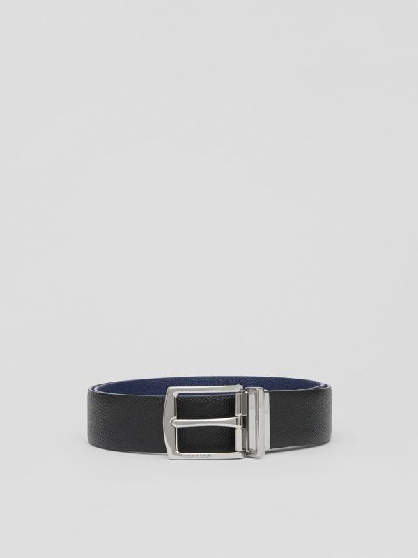Reversible Grainy Leather Belt in Black/navy - Men | Burberry Hong Kong S.A.R - cell image 3