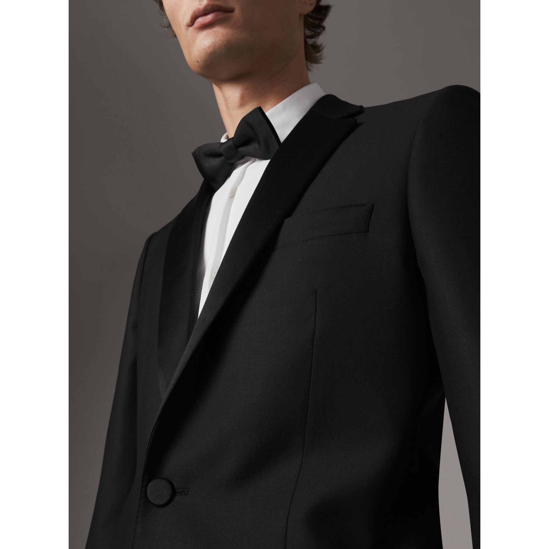 Modern Fit Wool Mohair Half-canvas Tuxedo in Black - Men | Burberry - gallery image 2