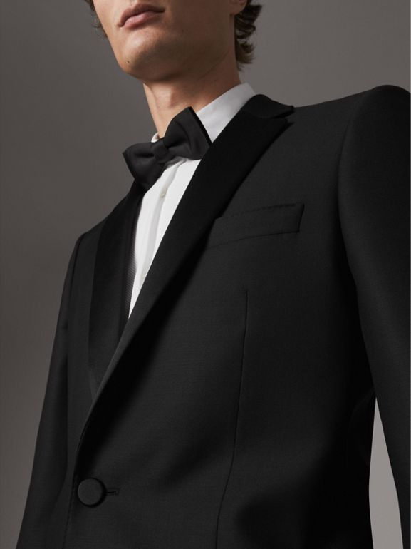 Modern Fit Wool Mohair Tuxedo in Black - Men | Burberry United Kingdom - cell image 1
