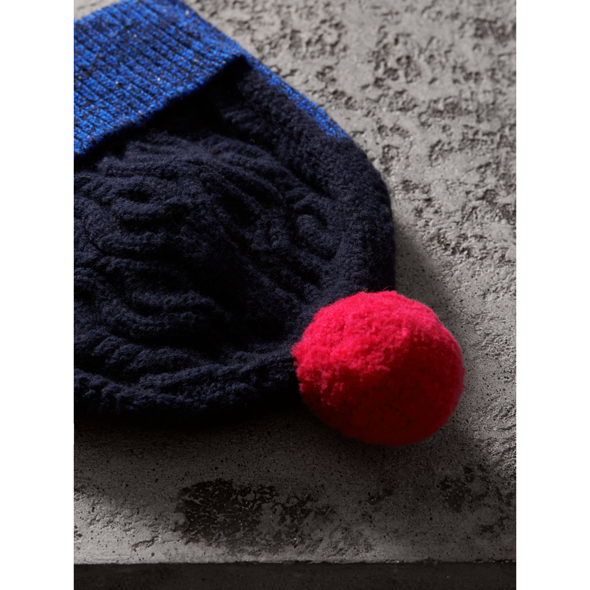Pom-pom Cable Knit Wool Cashmere Beanie in Navy - Women | Burberry - gallery image 1