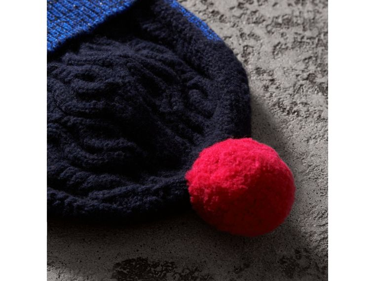 Pom-pom Cable Knit Wool Cashmere Beanie in Navy | Burberry - cell image 1