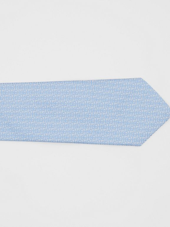 Classic Cut Monogram Silk Jacquard Tie in Pale Blue - Men | Burberry - cell image 1