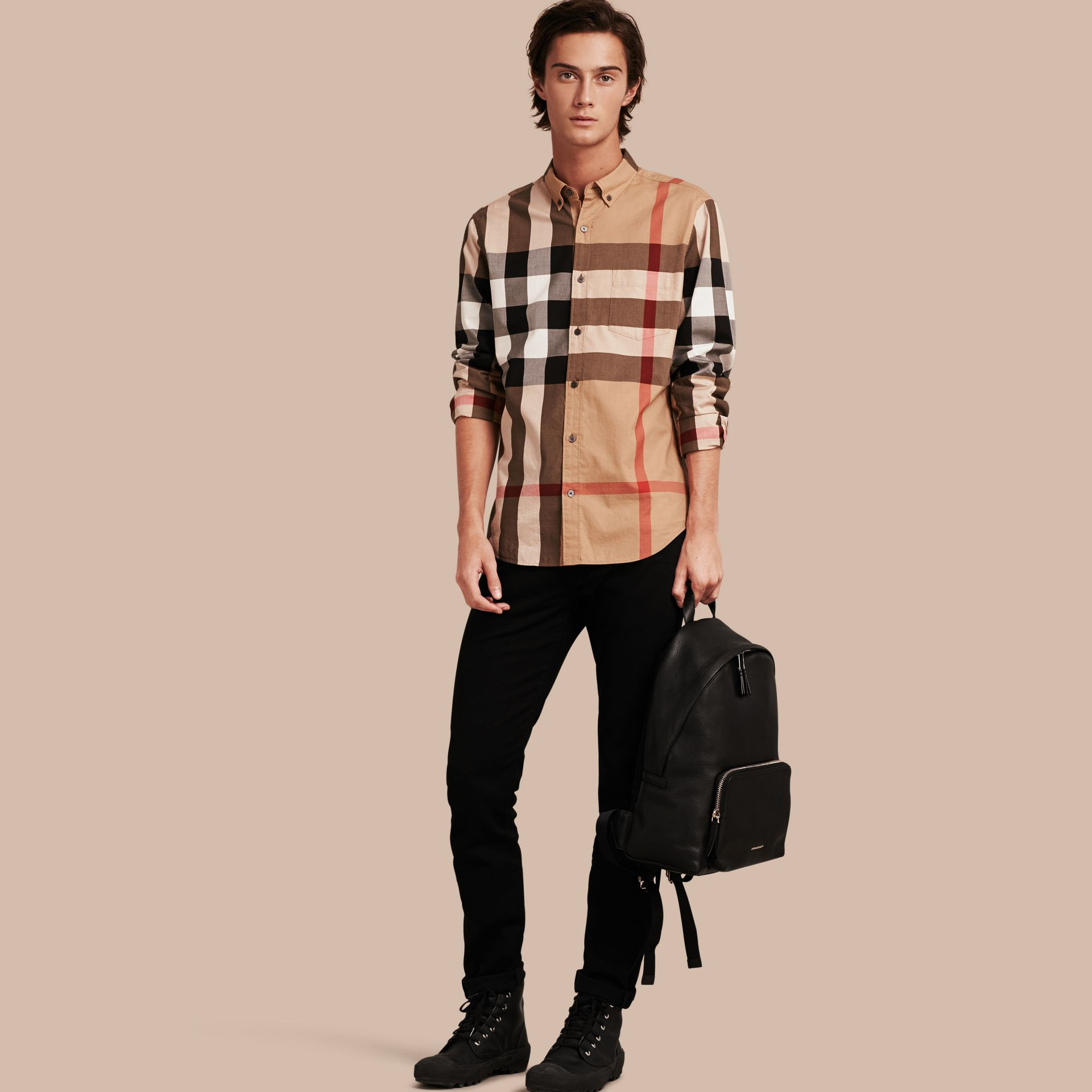 Camel Check Cotton Shirt Camel - gallery image 1