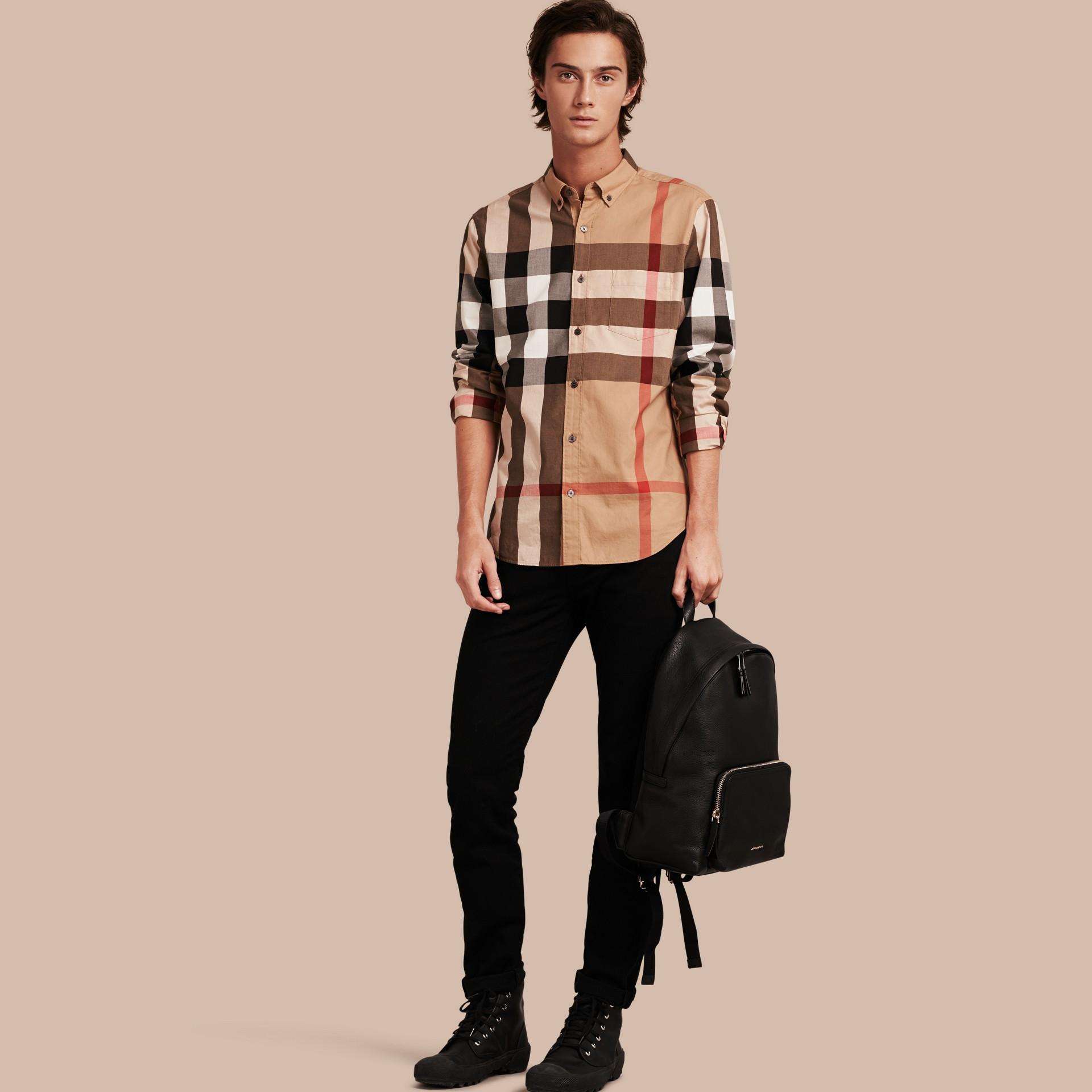 Cammello Camicia in cotone con motivo check Cammello - immagine della galleria 1
