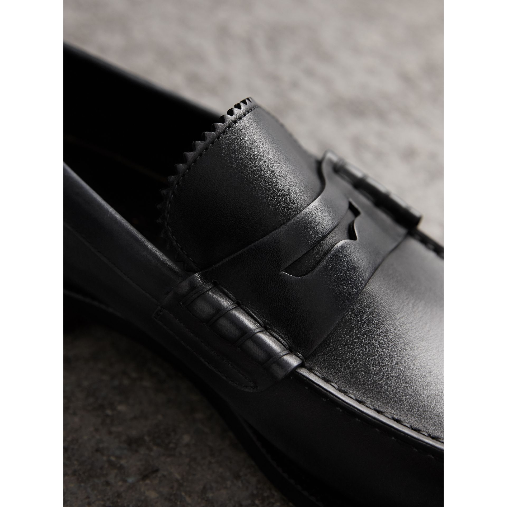 Leather Penny Loafers in Black - Men | Burberry Australia - gallery image 1