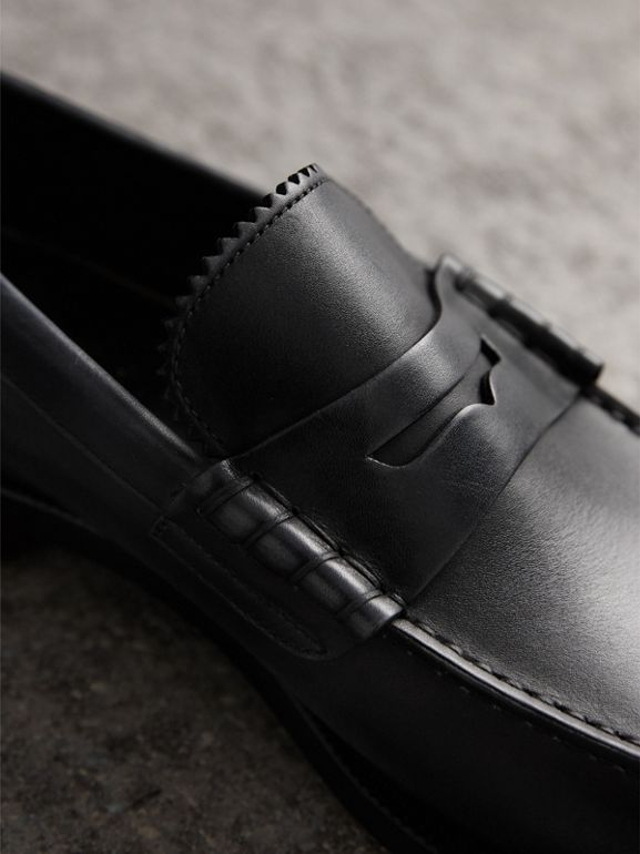 Leather Penny Loafers in Black - Men | Burberry United States - cell image 1
