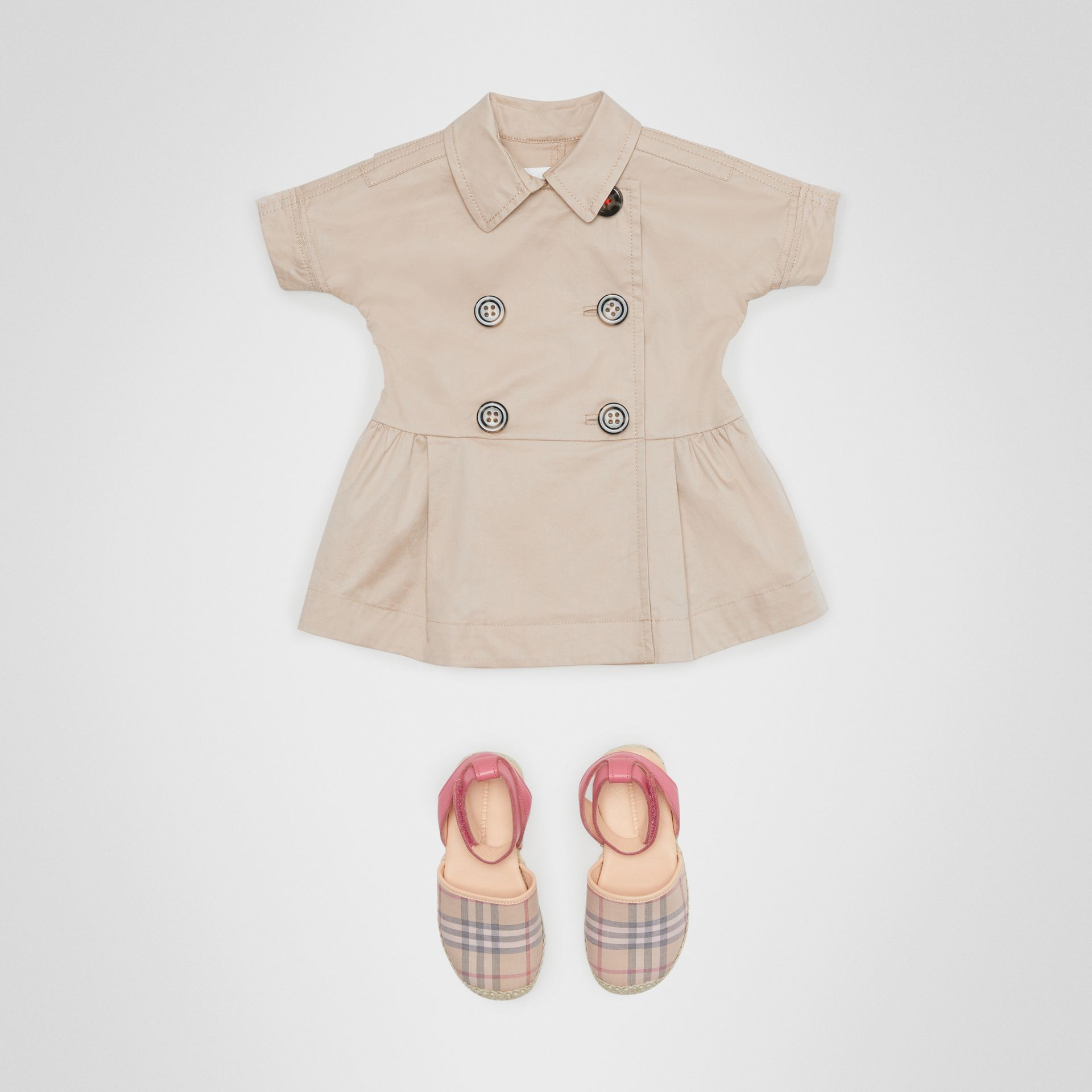 Stretch Cotton Trench Dress in Honey - Children | Burberry United Kingdom - gallery image 2
