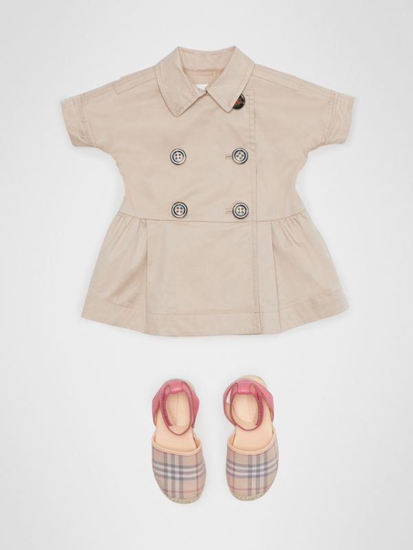 Stretch Cotton Trench Dress in Honey - Children | Burberry - cell image 2