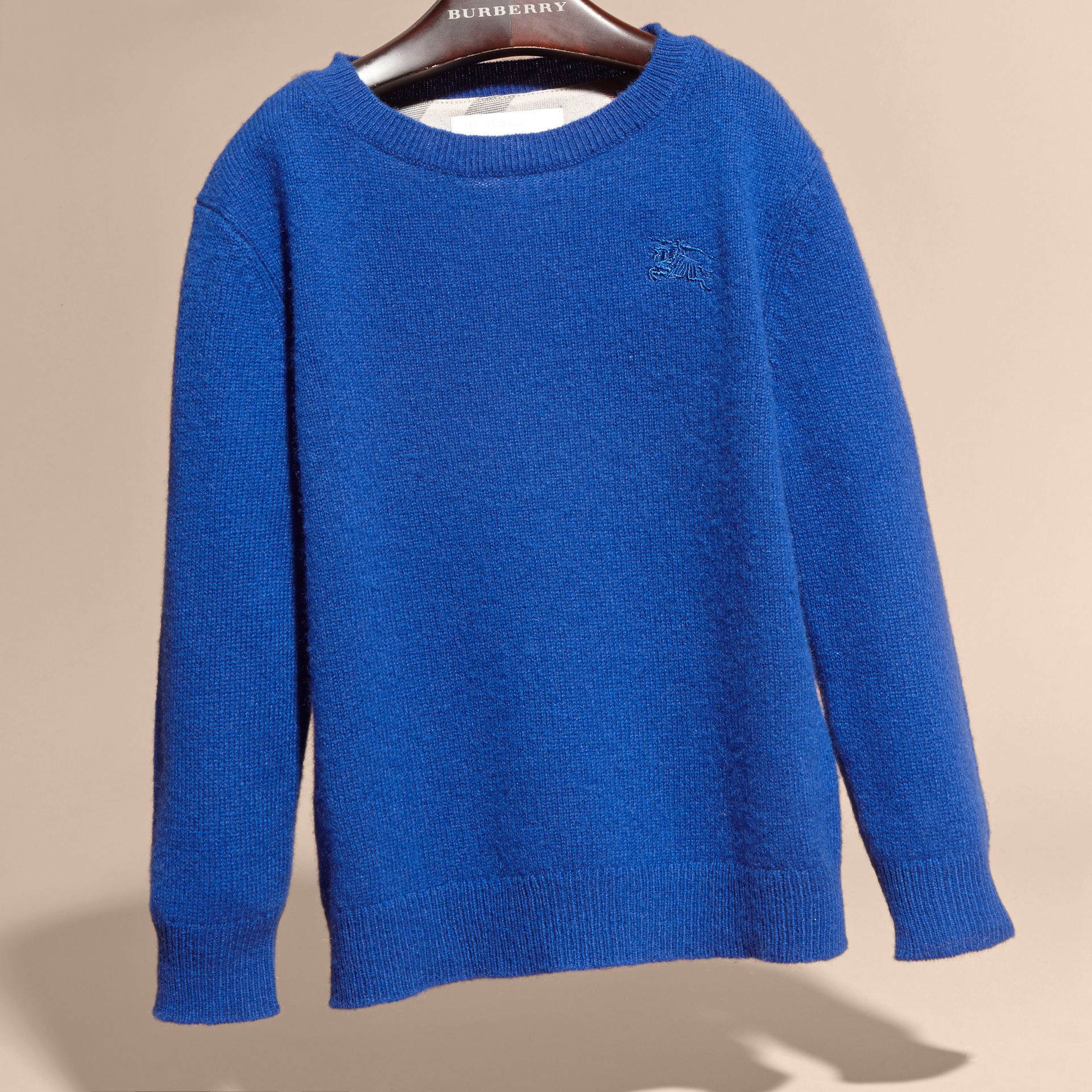 Check Elbow Patch Cashmere Sweater in Brilliant Blue - gallery image 4