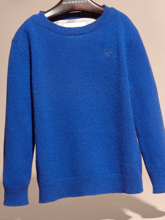 Check Elbow Patch Cashmere Sweater in Brilliant Blue - cell image 3