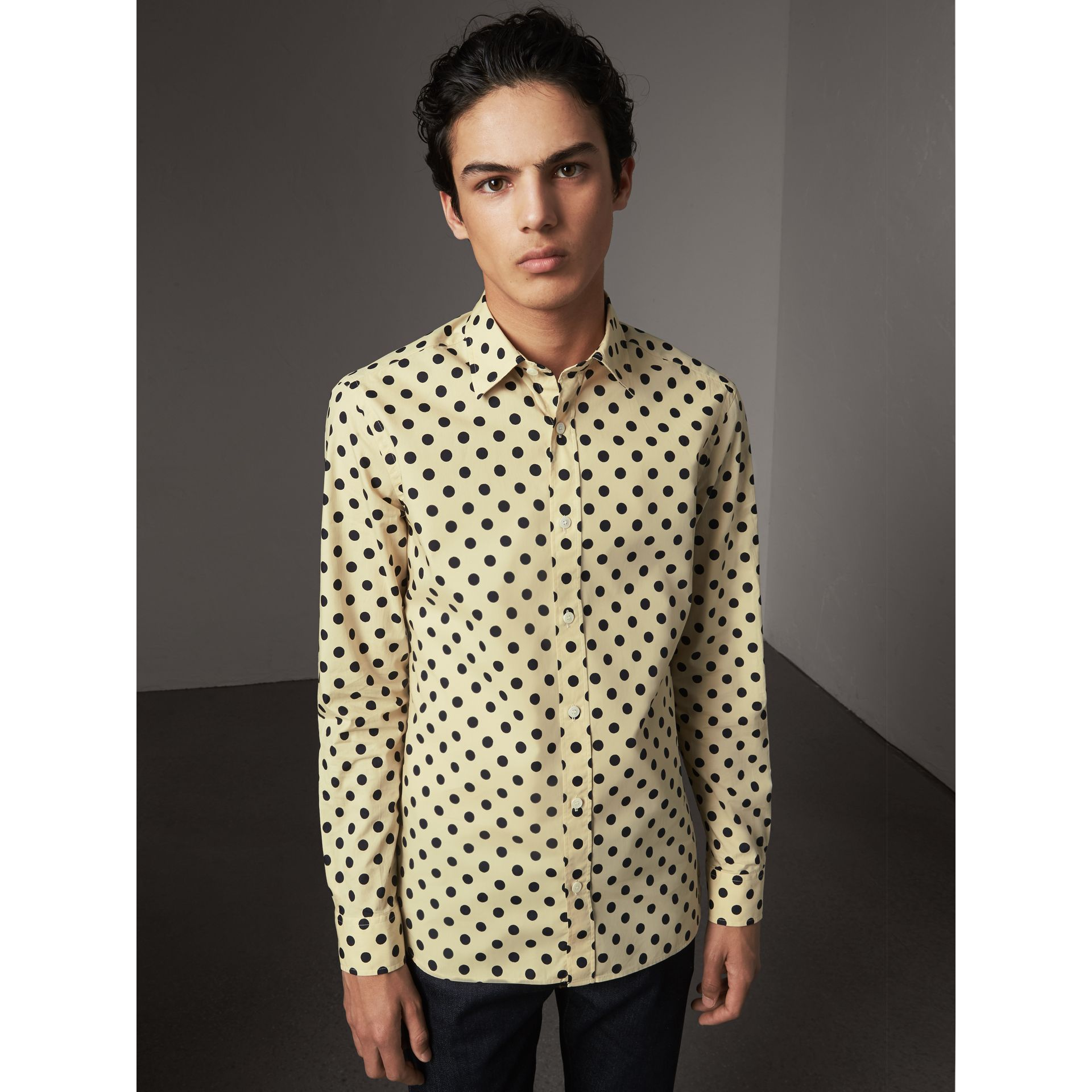 Polka-dot Cotton Shirt in Navy - Men | Burberry United Kingdom - gallery image 0