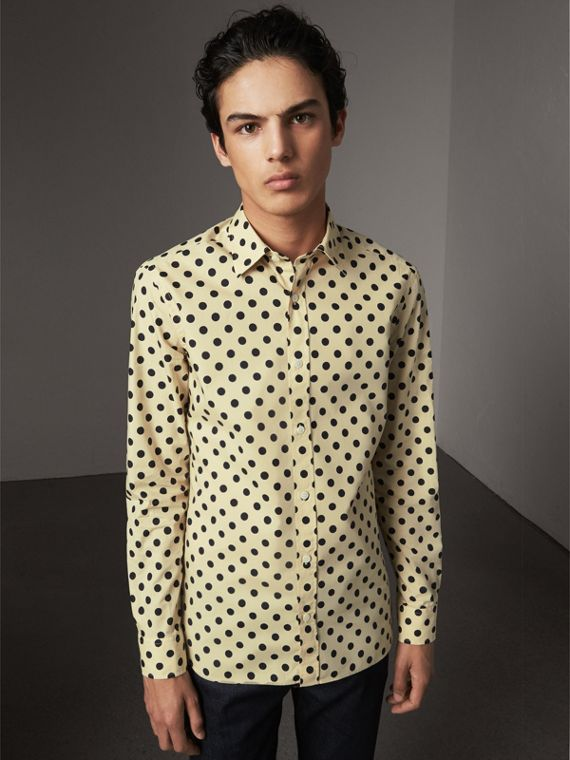 Polka-dot Cotton Shirt in Navy