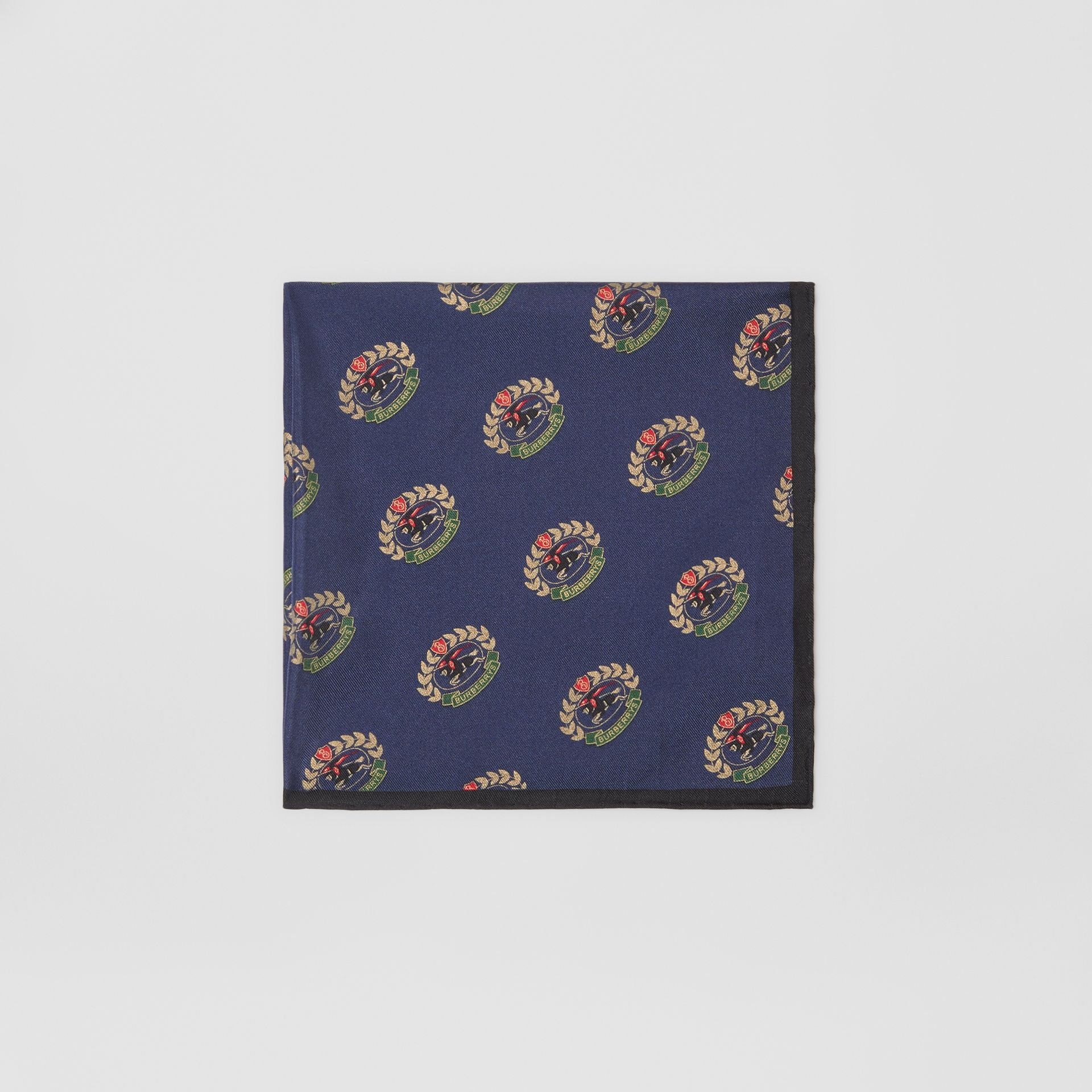 Archive Logo Print Silk Pocket Square in Navy - Men | Burberry - gallery image 0