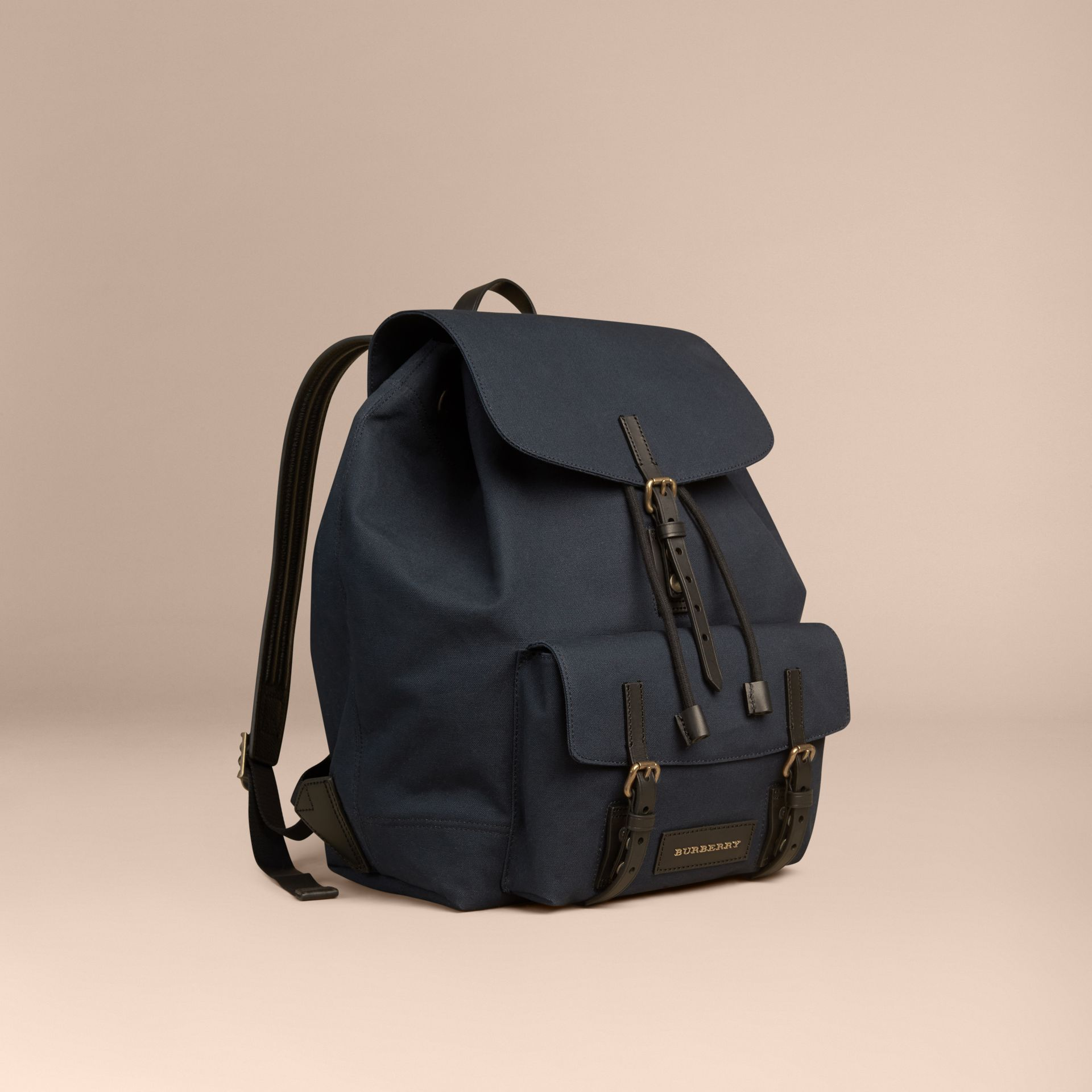 Deep navy Cotton Canvas Backpack - gallery image 1