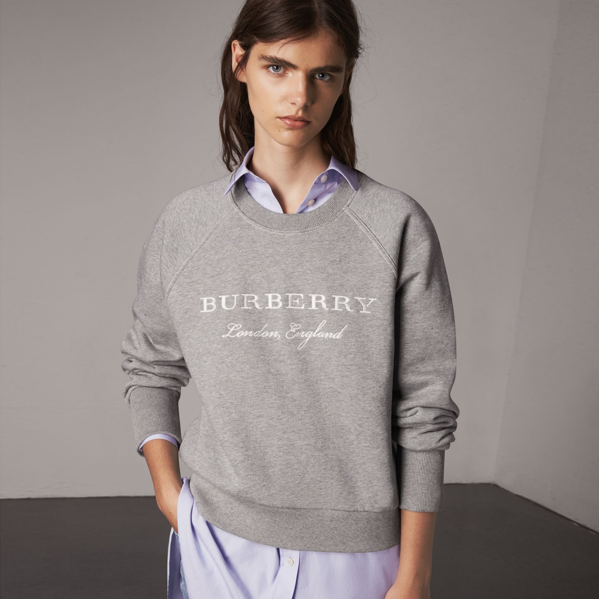 Embroidered Cotton Blend Jersey Sweatshirt in Pale Grey Melange - Women | Burberry - gallery image 0