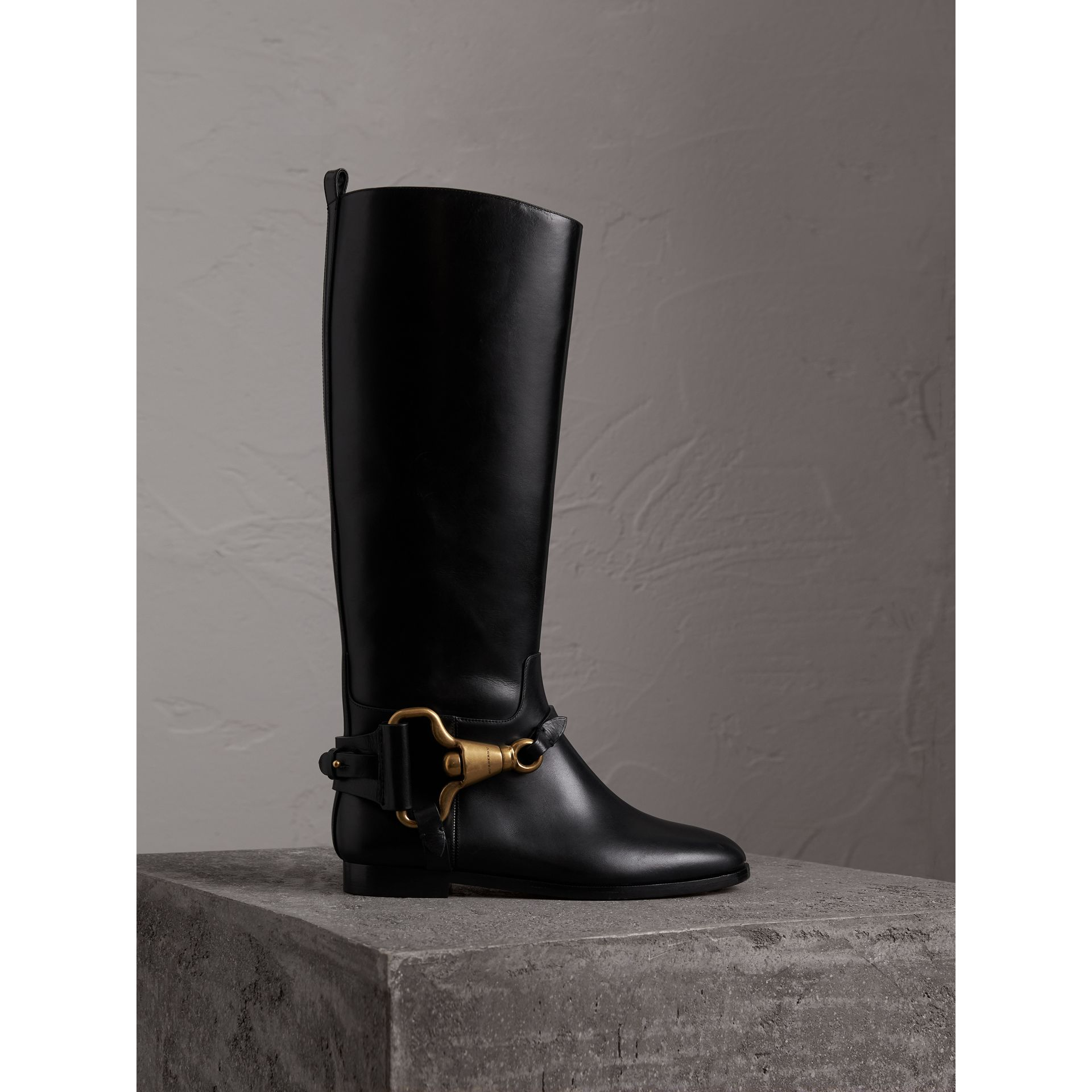 Equestrian Detail Leather Riding Boots in Black - Women | Burberry - gallery image 1