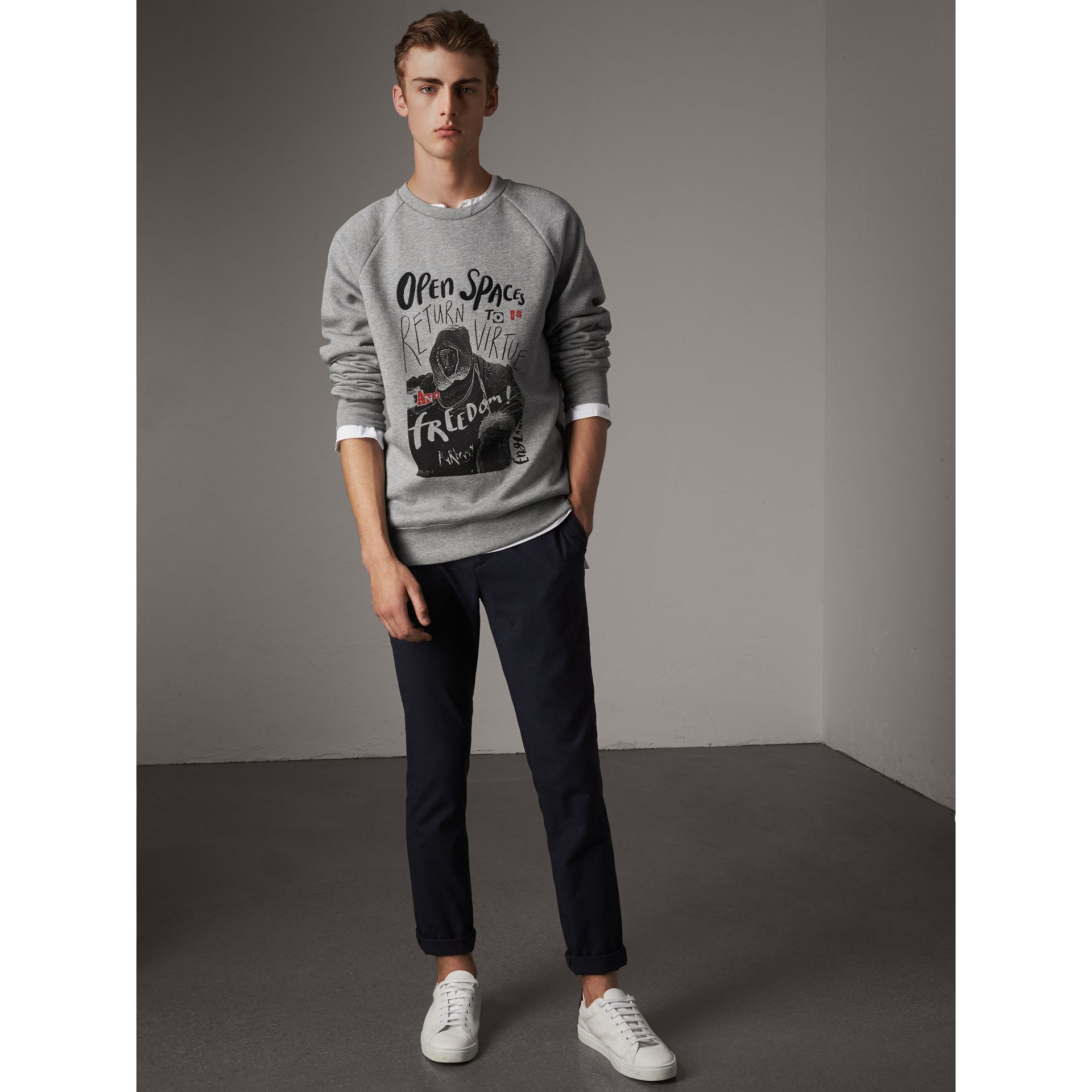 Open Spaces Graphic Motif Cotton Blend Sweatshirt in Pale Grey Melange - Men | Burberry Australia - gallery image 5