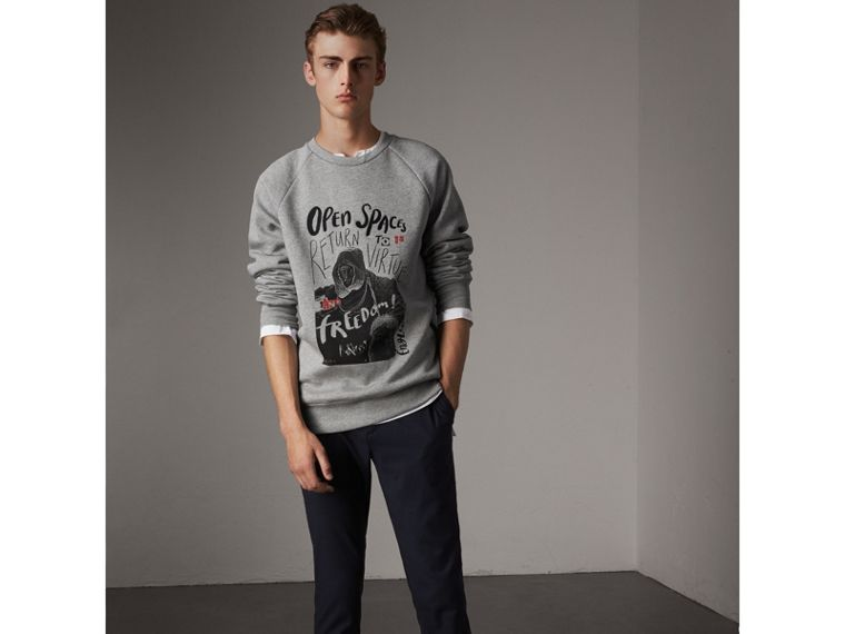 Open Spaces Graphic Motif Cotton Blend Sweatshirt in Pale Grey Melange - Men | Burberry - cell image 4