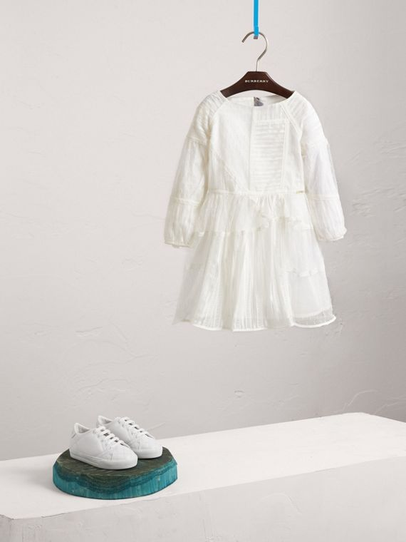 Puff-sleeve Panelled Embroidered Tulle Dress in White