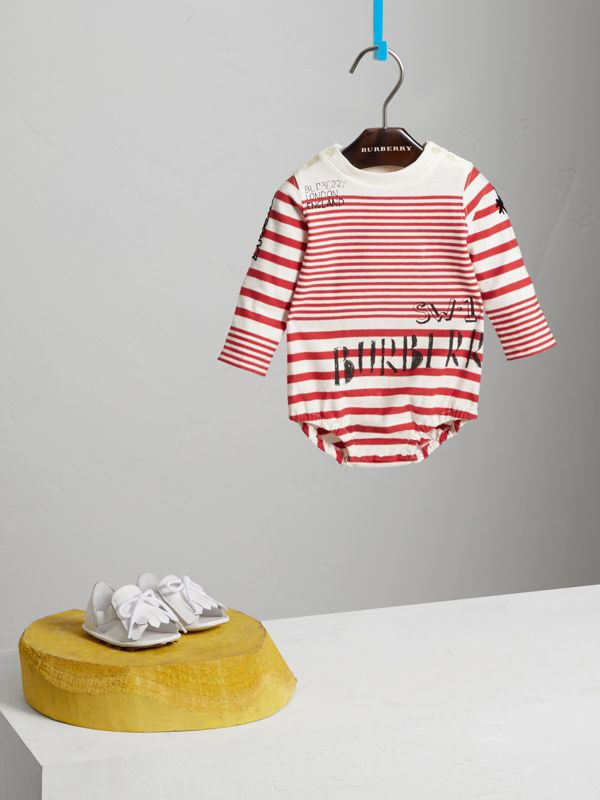 SW1 Print Striped Cotton Jersey Bodysuit in Bright Red/natural White - Children | Burberry - cell image 2