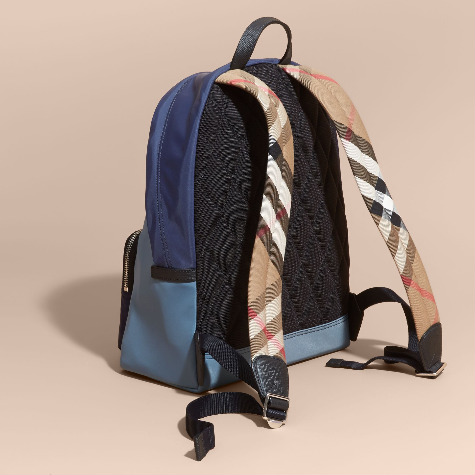 Leather and House Check Trim Technical Backpack in Slate Blue - gallery image 4