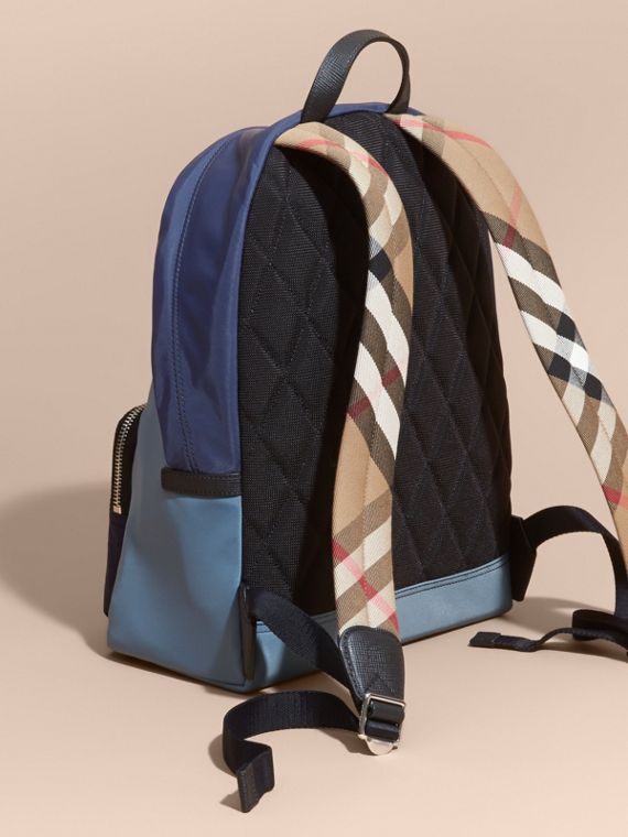 Leather and House Check Trim Technical Backpack in Slate Blue - cell image 3