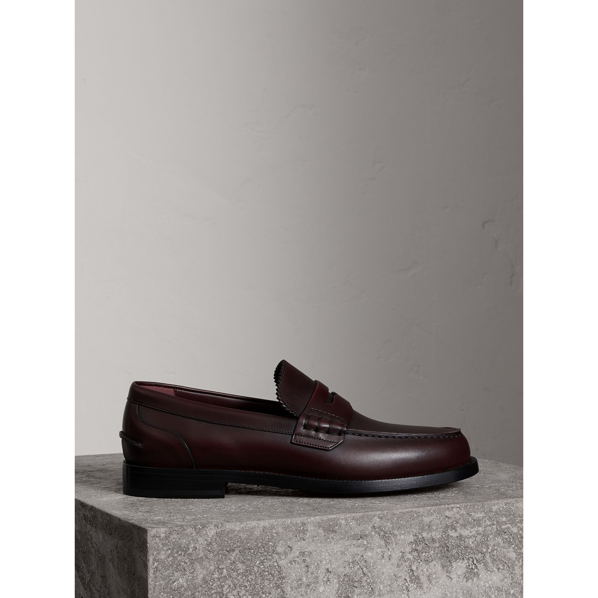Leather Penny Loafers in Bordeaux - Men | Burberry - gallery image 3