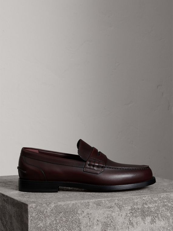 Leather Penny Loafers in Bordeaux - Men | Burberry Canada - cell image 3
