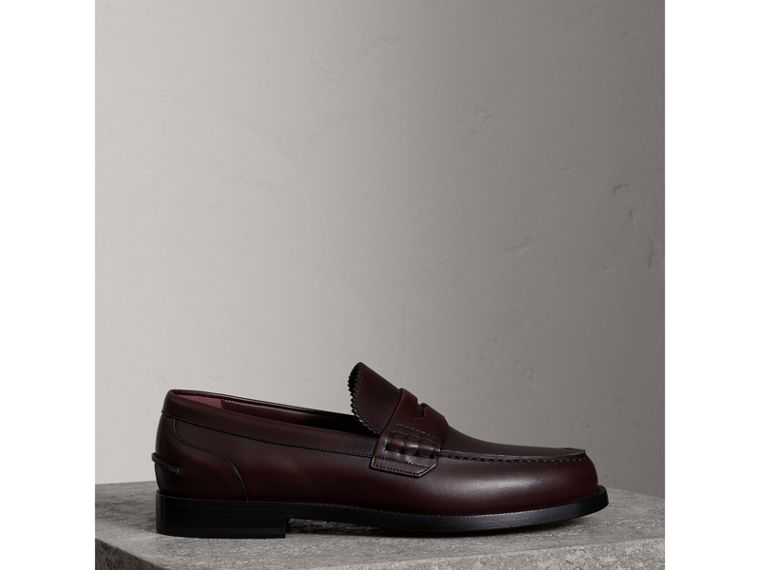 Leather Penny Loafers in Bordeaux - Men | Burberry - cell image 4