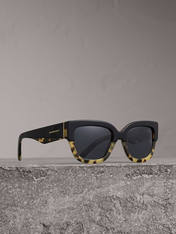 Two-tone Square Frame Sunglasses in Black