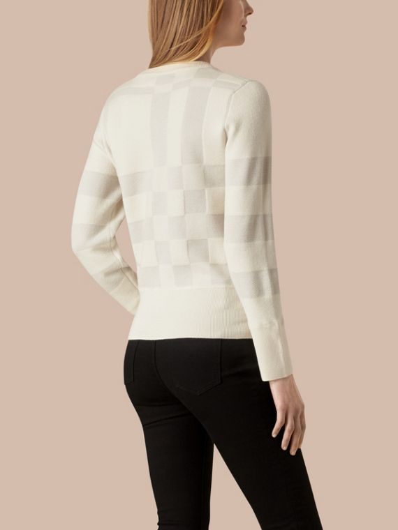 Natural white Check Knit Wool Blend Sweater Natural White - cell image 2