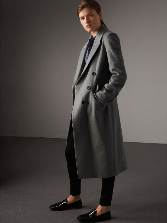Ruffle Detail Wool Cashmere Tailored Coat in Pale Grey Melange