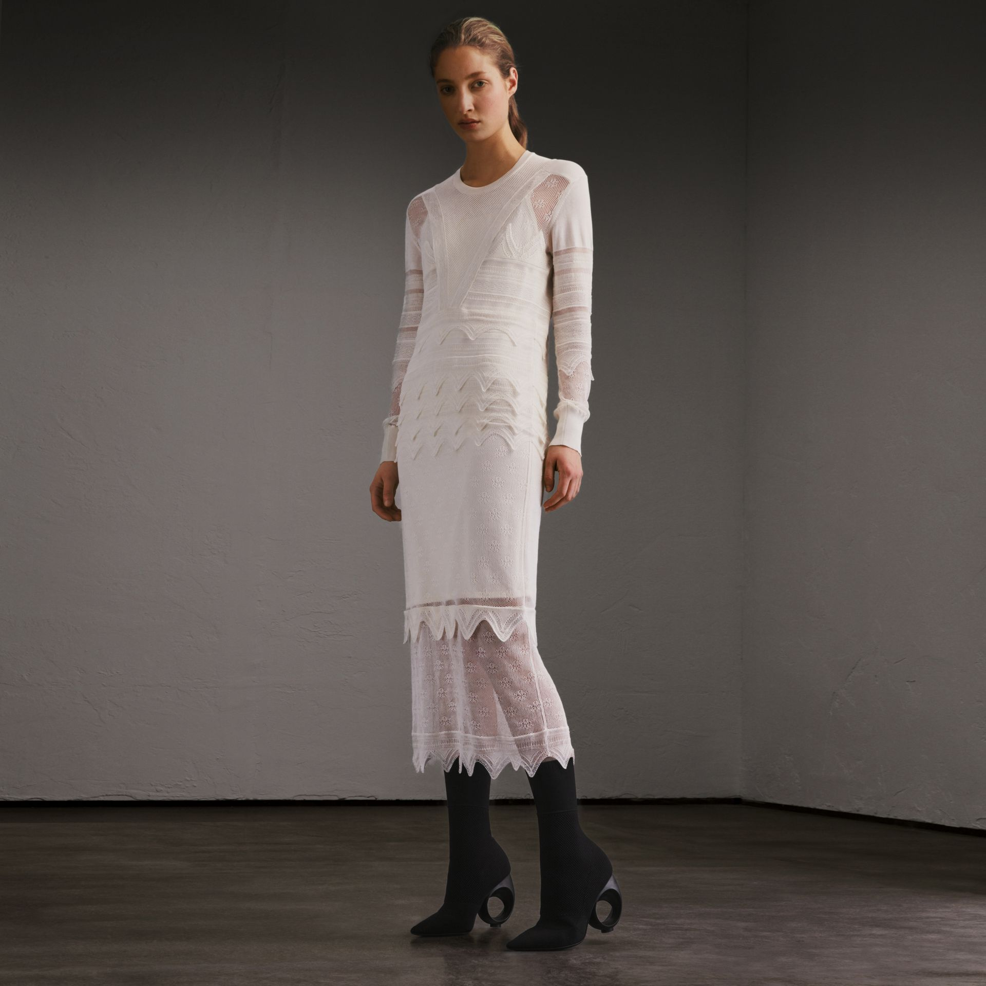 Knitted Lace Column Dress - Women | Burberry - gallery image 7
