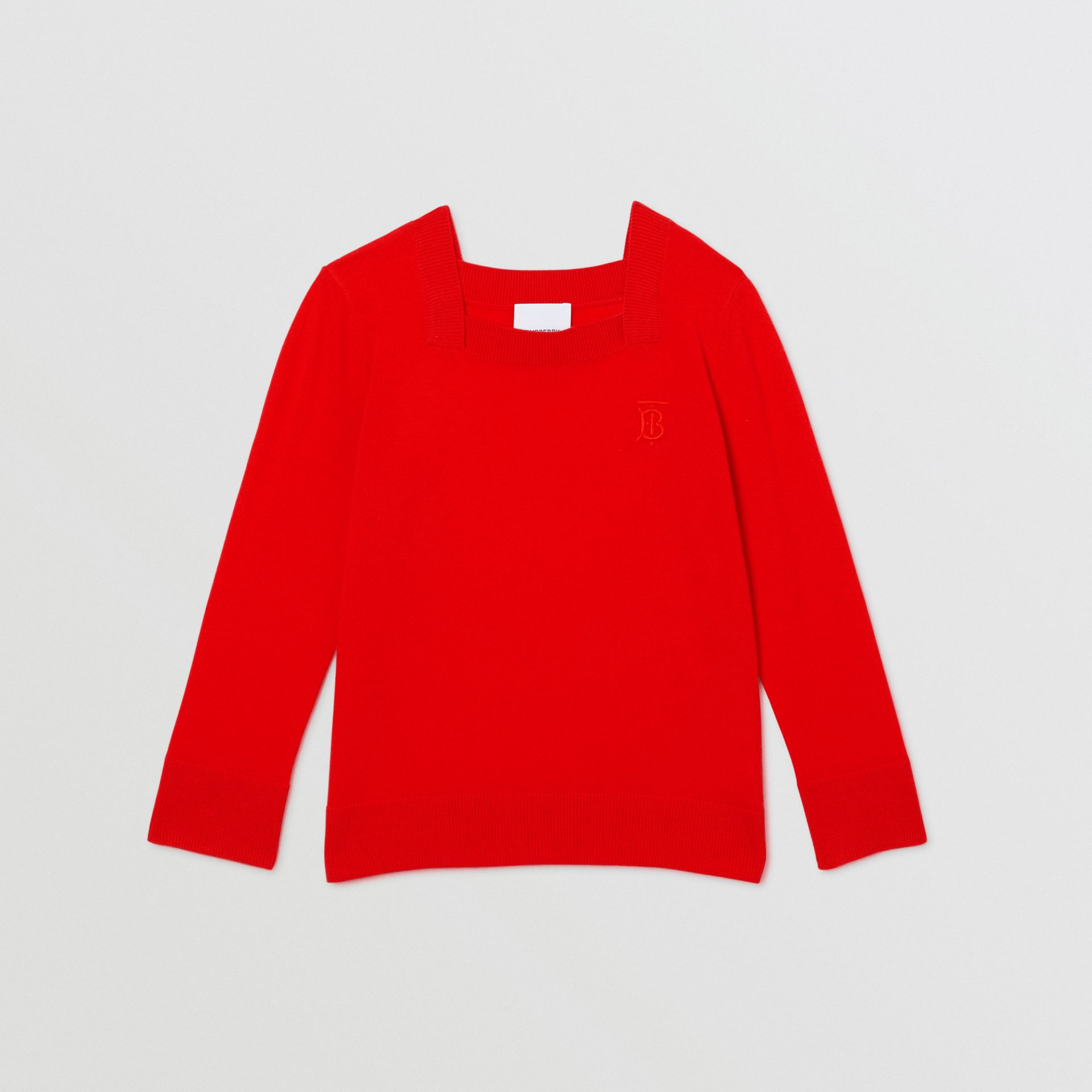 Monogram Motif Cashmere Sweater in Bright Red | Burberry - gallery image 0