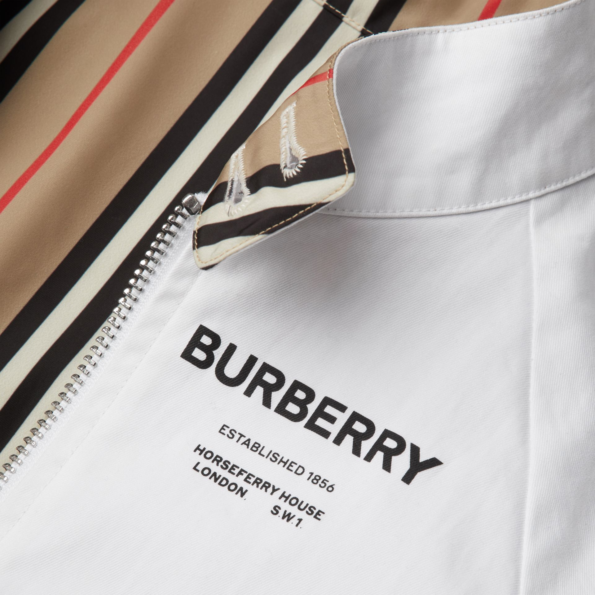 Reversible Icon Stripe Cotton Harrington Jacket in Optic White | Burberry Canada - gallery image 6