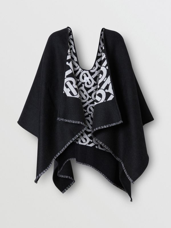 Monogram Wool Jacquard Cape in Black - Women | Burberry Australia - cell image 3