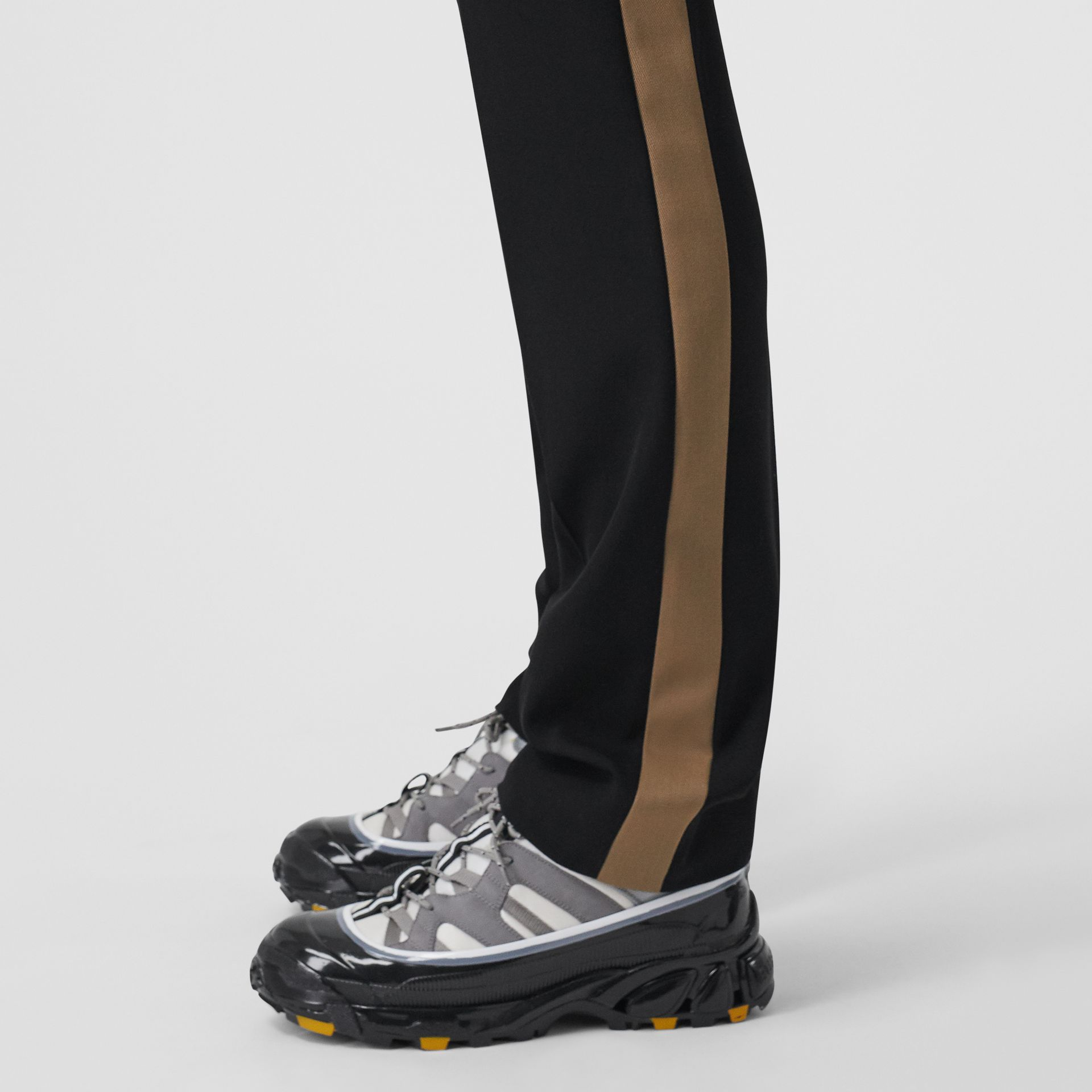 Classic Fit Side Stripe Wool Tailored Trousers in Black - Men | Burberry Canada - gallery image 5