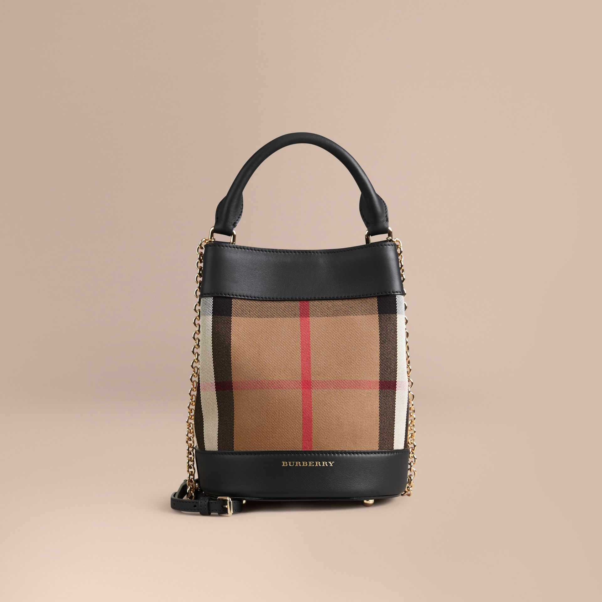 Noir Petit sac Burberry Bucket en coton House check et cuir - photo de la galerie 7