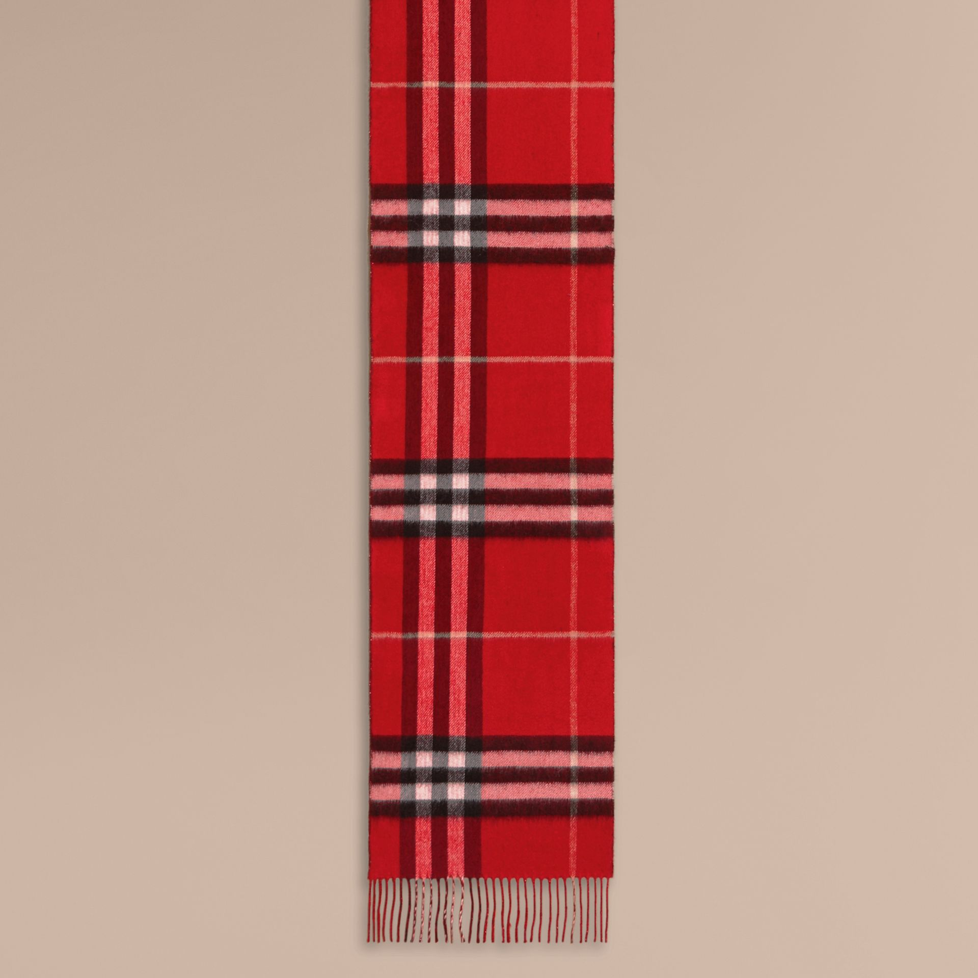 Reversible Metallic Check Cashmere Scarf in Parade Red - Women | Burberry United Kingdom - gallery image 1